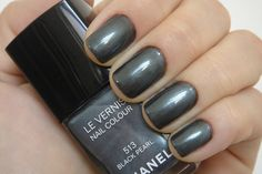 Black Pearl, #Chanel -  dark charcoal grey #nail_polish / lacquer with shimmer