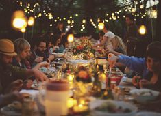 Dinner Party ~ <3 the long table w/ lights.   #Dinner Party, #Outdoor Party, #Party
