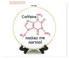 Caffein Molecule Cross Stitch