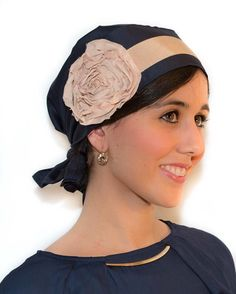 Blue Headscarf Tichel with Beige Flower Bandana Chemo Hat Hair Scarf Turban Headwrap Tichel Head Scarf cancer Headscarves Hair Loss Covering...