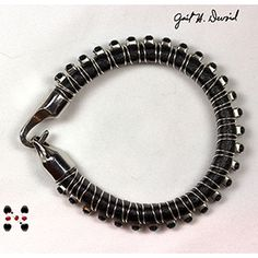 #1057 -Wire Wrapped Crystal Leather Bracelet at Sova-Enterprises.com