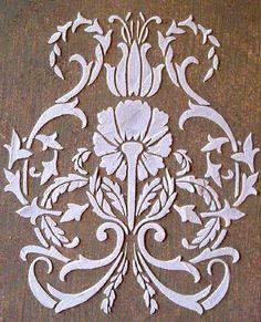 Raised Plaster Floral Damask Stencil, Craft Stencil, Wall Stencil, Furniture Stencil, Painting Stencil