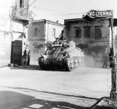 "American Tank M4 «Sherman"" 1st Armored Division, U.S. street Ponsacco in Northern Italy"