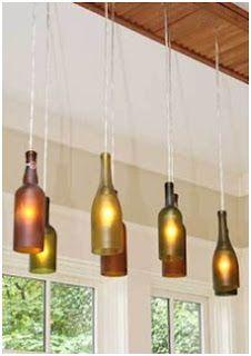 Espaço Moda João Monlevade: Luminárias Recicladas. Lindas para colocar acima de uma bancada