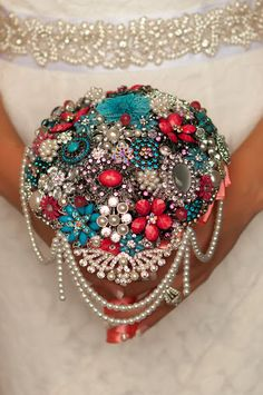 Autumn's Custom Cascading Brooch Bouquet by Blue Petyl