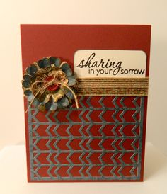 Handmade Sympathy Card in Maroon Cream Blue & Burlap by pattitudes, $3.25