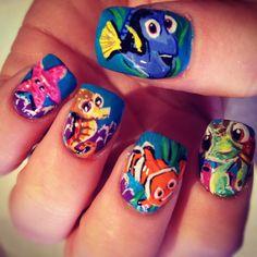 Sooooo Cuuttteeee!! nemo nail, nailart, findingnemo, beauti, nails, find nemo, hair, nail art, finding nemo