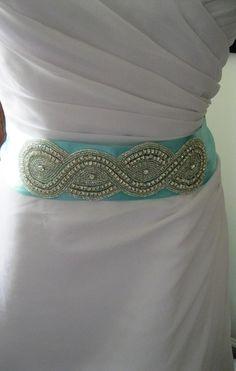 Tiffany Blue Wedding Belt with Rhinestone Decor,  Bridal Sash --  A Short Satin Ribbon Sash for your Wedding Dress