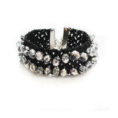 Black Crystal Crochet Bracelet, Sparkly, crochet bracelet, black bracelet, Crystal  bracelet #lbd #jewelry #bracelet #cuff