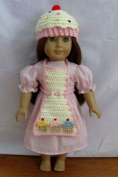 "Cupcake Hat and Apron Fits American Girl and 18"" Dolls"