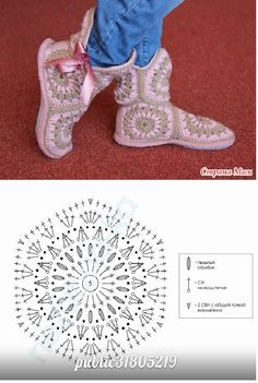 crochet slippers - make a rectangle the length and the width of your feet and assemble on it 3 of these hexagons for the body of the slipper. Make to more to create a boot effect! <3