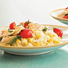 Using purchased rotisserie chicken cuts the prep time in this light, summery recipe. Make the seasoned risotto using fresh-from-the-field sweet corn.