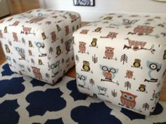 foot stool/ seat with owl fabric by TrinaHazleyDesign on Etsy, $600.00