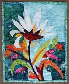 Petal Power art quilt, approx. 12 x 15″, by Karen Gillis Taylor