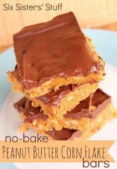 No Bake Peanut Butter Corn Flake Bars | AllFreeCopycatRecipes.com