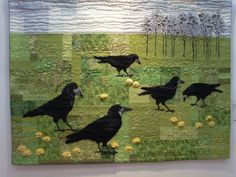 """Birds sings - some screams"" art quilt by Karin Ostergaard.  Photo by Nicola Foreman Quilts"