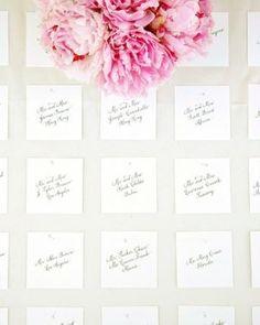 Easy way to put a subtle twist on classic escort cards--make them square instead of rectangular #marthastewartweddings