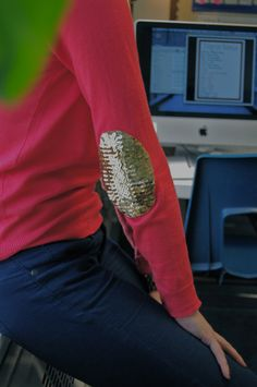 Sequined elbow patches - no-sew!