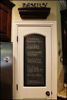 Love chalkboard pantry doors