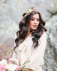 2014 Wedding Trends   Floral Crowns   that floral crown + those curls