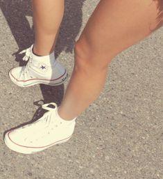 high top white converse.