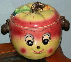 Antique Anthropomorphic Apple Face Cookie Jar