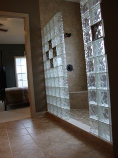 glass block showers for two | glass block shower in new construction with colored glass blocks in ...
