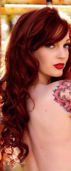 girl tattoos, hair colors, arm tattoos, red hair, sleev, alice in wonderland, red lips, redhead, tattoo ink