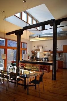 Modern beams in interior