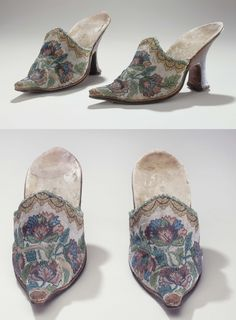 Mules, c.1730, France. 'Pearl-embroidered' upper with coloured floral motif on off-white background, cream tawed lining and insole; brown, vegetally tanned leather welt, sole, wooden heel covering and toecap. Especially notable for sablé or 'pearl-embroidered' ornamentation, a technique resembling that of needlepoint lace: tiny glass beads are mounted on horizontal threads and surrounded with a network of blanket stitching. Popular in the 1730s on furniture but extremely rare on shoes.