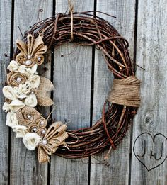 decor, burlap wreaths, holiday wreaths, crafti, wreath idea, cute wreaths, fall wreaths, wedding wreaths, grapevin wreath