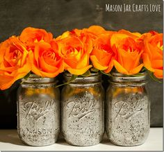 Great looking for a Fall Table, love the Orange Roses with the Mercury Glass Mason Jars!