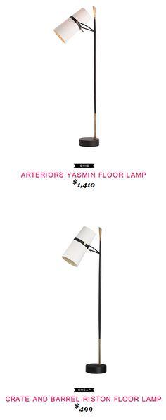 Arteriors Yasmin Floor Lamp $1,410  -vs-  Crate and Barrel Riston Floor Lamp $499