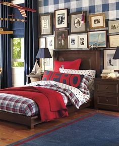 beds, heroes, boy bedrooms, gallery walls, kids, kid room, pottery barn, pillows, big boy rooms