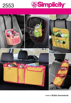 2553Crafts  Crafts - car organizers tailored for baby, toddler, teen, and office-on-the-go sewing pattern. Robin Greenwood collection