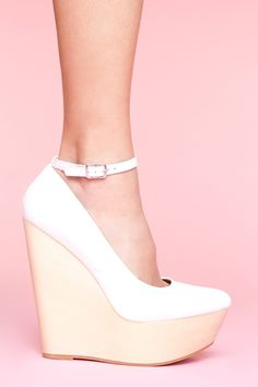 White ankle strap wedges @Nastygal .com