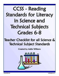 FREE Teacher Checklist for the CCSS - Reading for Literacy in Science & Technical Subjects Gr. 6-8