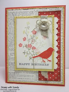 Stampin' Up Products Used: Stamp Sets: Dictionary, Morning Meadow Card Stock: Very Vanilla, So Saffron, Calypso Coral Designer Series Paper:...