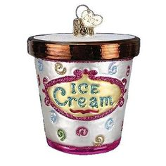Ice Cream Carton Christmas Ornament 32177Merck Family's Old World Christmas - great keepsake for an old fashioned summertime ice cream supper))