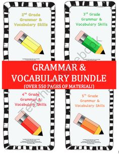 2nd-5th Grade Grammar and Vocabulary BUNDLE - OVER 550 PAGES! Enter for your chance to win.  Grammar & Vocabulary Skills Bundle (2nd-5th Grade Books) (559 pages) from Inspire the Love of Learning on TeachersNotebook.com (Ends on on 9-27-2014)  This grammar and vocabulary bundle includes a workbook for 2nd grade, 3rd grade, 4th grade, and 5th grade.  These workbooks are CCSS aligned and use a large amount of non-fiction text!