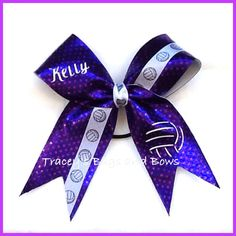 Volleyball Bow with name by Traceysbagsandbows on Etsy, $11.00
