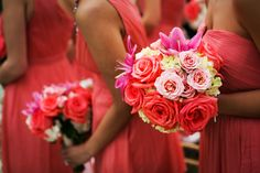 Coral bridesmaid dresses and oversized bouquets