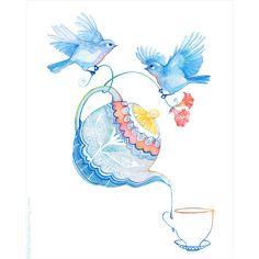 Tea Time Art Print by emmabazan #Watercolor #bird #illustration  $28