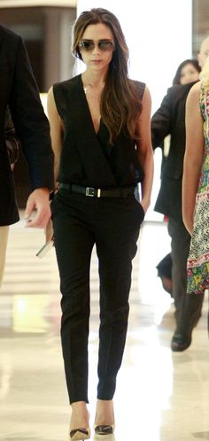 Victoria Beckham- love her outfit. Extensions in hair though, right? ;)