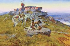 Charles Russell's paintings of the West emphatically express the pathos and empathy he had for the American Indians of Montana as in his poignant oil titled Her Heart is on the Ground.  – Courtesy Gilcrease Museum, Tulsa, OK, 0137.907 –