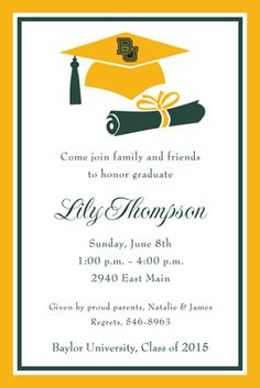 #Baylor University Cap and Diploma Invitations