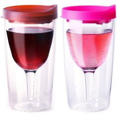Vino2Go Set of 2 Double Wall Insulated Wine Tumblers Merlot and Pink Slide Top Lids 10 oz. Vino2Go