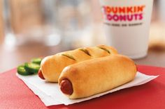 Why don't we have this? Texas Dunkin Donuts have the Kolache. A typical kolache is a soft, sweet, yeasty roll filled with apricots, prunes, cheese, poppy seeds, or sausage. The Dunkin' version uses a cheesy smoked sausage link.