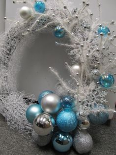"""Amanda Cromwell: Christmas DIY Wreath (I really don't """"do"""" Christmas, but this is quite lovely) christma wreath, christmas wreaths, holiday wreaths, silver christmas, christmas colors, blue christmas, wedding colors, winter wreaths, diy christmas"""