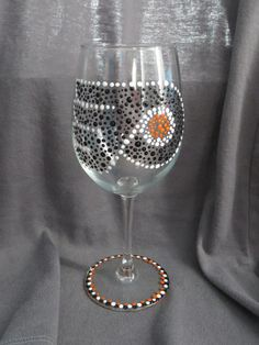 Philadelphia Flyers Painted Wine Glass paint wine, flyers hockey, wine glass, philadelphia flyers